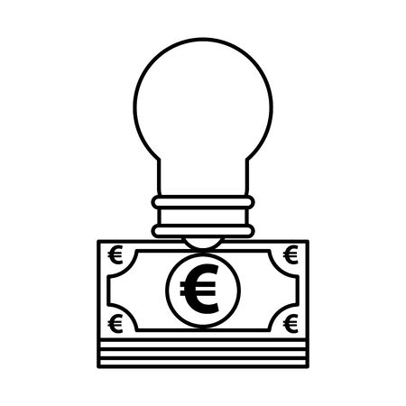 euro bills money with bulb light vector illustration design