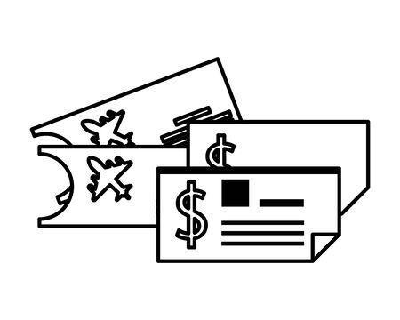 tickets flight documents isolated icon vector illustration design Ilustración de vector
