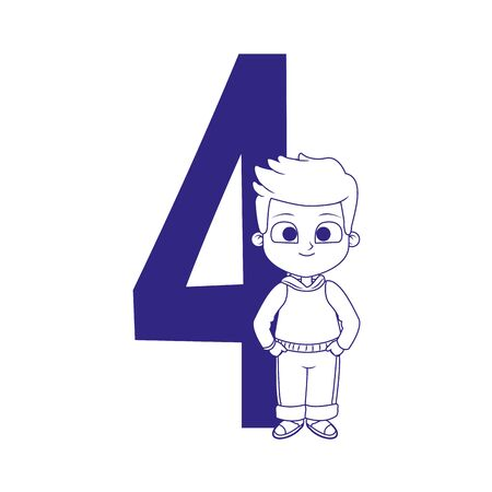 number four with cute boy standing over white background, vector illustration