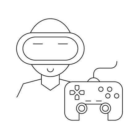 video game control handle with gamer character vector illustration design Ilustração