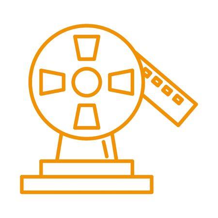 trophy award price reel tape vector illustration design