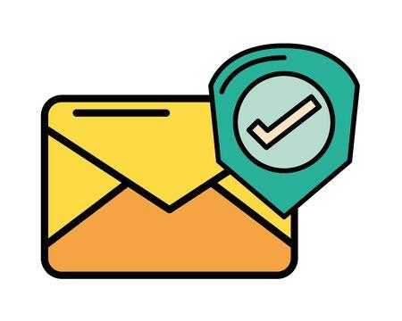 envelope mail with check symbol vector illustration design