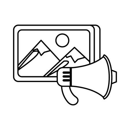 picture file format with megaphone vector illustration design