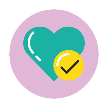 happy valentines day heart with check symbol vector illustration design