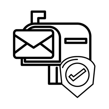 envelope mail in mailbox with check symbol vector illustration design Stock Illustratie