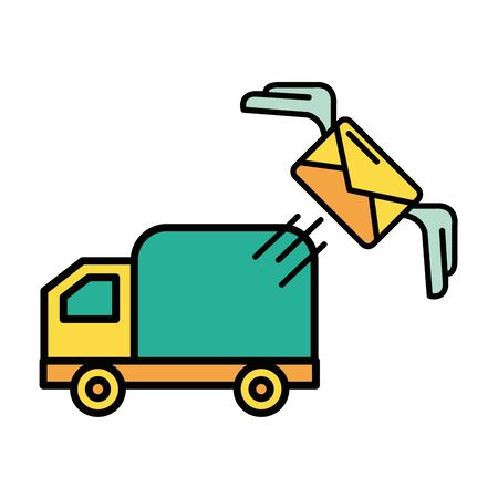 truck cart with envelope mail postal service vector illustration design Ilustração