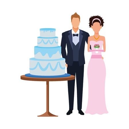 bride and groom and wedding cake over white background, vector illustration