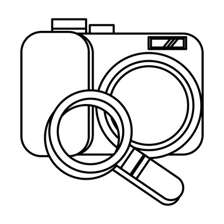 search magnifying glass with camera photographic vector illustration design