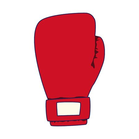 red boxing glove icon over white background, vector illustration