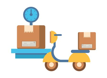 motorcycle vehicle with box packing postal service vector illustration design