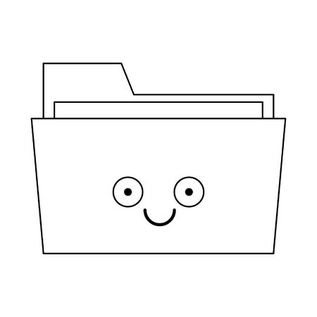 Folder document smiling cute cartoon vector illustration graphic design