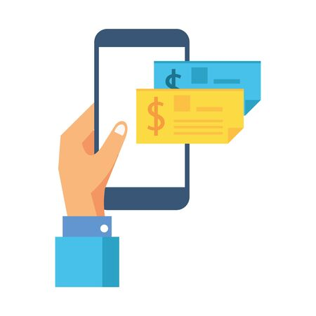 hand with check banknote paper and smartphone vector illustration design Ilustrace