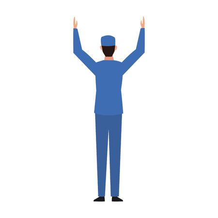 car mechanic with arms up over white background, vector illustration Иллюстрация