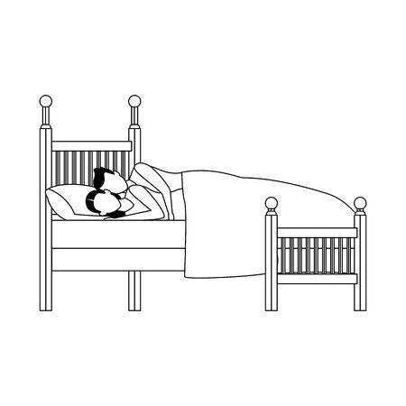 avatar couple cuddling on bed icon over white background, vector illustration Çizim