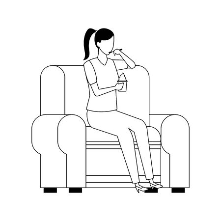 woman sitting on couch icon over white background, vector illustration