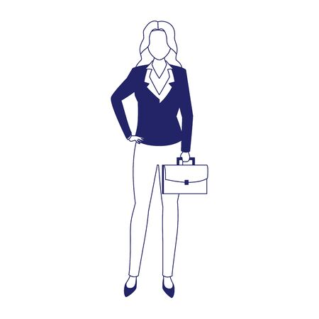 businesswoman with briefcase icon over white background, flat design, vector illustration