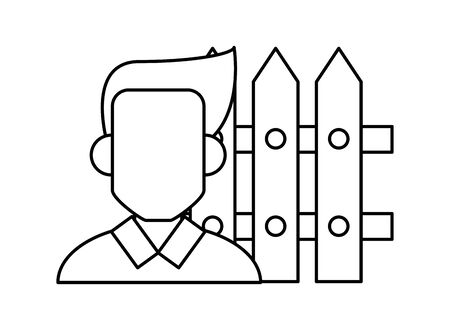 young man with fence avatar character vector illustration design