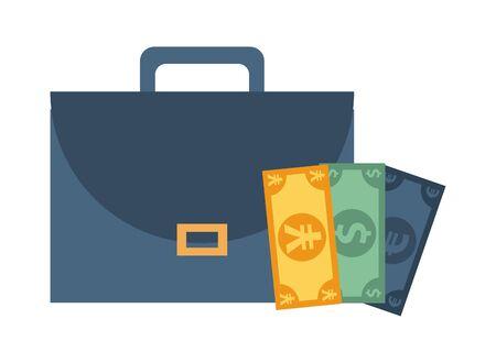 portfolio briefcase with money bills vector illustration design