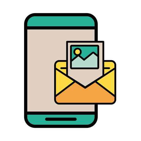 smartphone with envelope email postal service vector illustration design