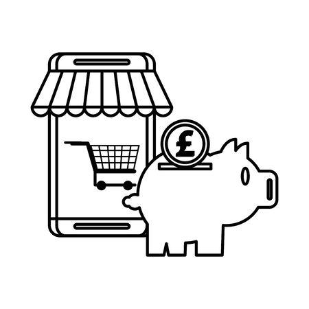 piggy savings money with smartphone ecommerce vector illustration design Stock Illustratie