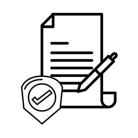 checklist document paper with pen supply vector illustration design Ilustrace