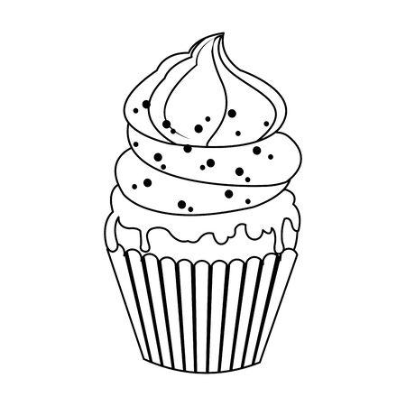 sweet cupcake icon over white background, flat design, vector illustration Иллюстрация