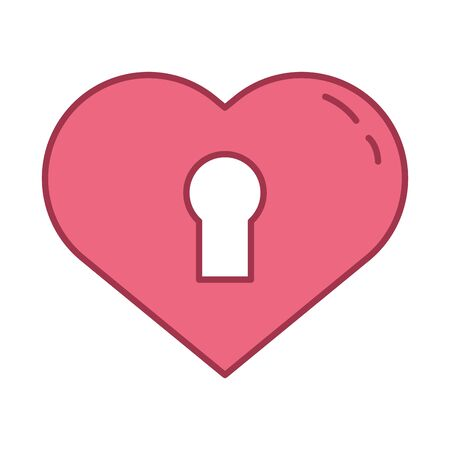 happy valentines day heart with key hole vector illustration design
