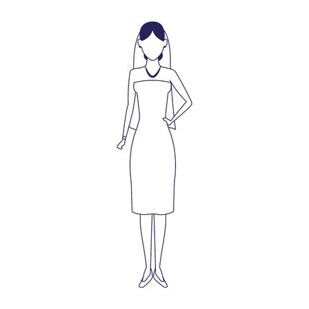 avatar bride standing icon over white background, vector illustration