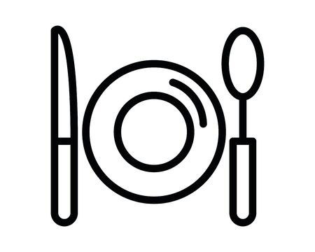 dish with knife and spoon vector illustration design