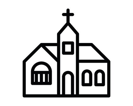 church catholic building facade icon vector illustration design