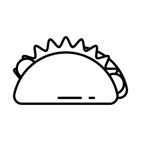 mexican taco food fill style icon vector illustration design Vector Illustration