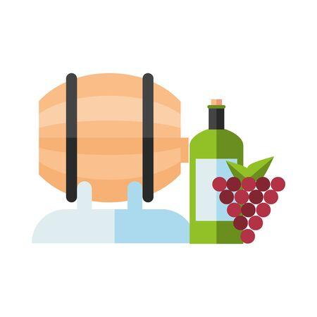 wine barrel drink with bottle and grapes vector illustration design