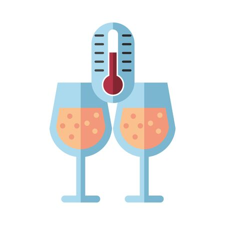 wine cups glasses with thermometer vector illustration design