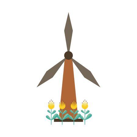 wind power turbine with flowers garden vector illustration design