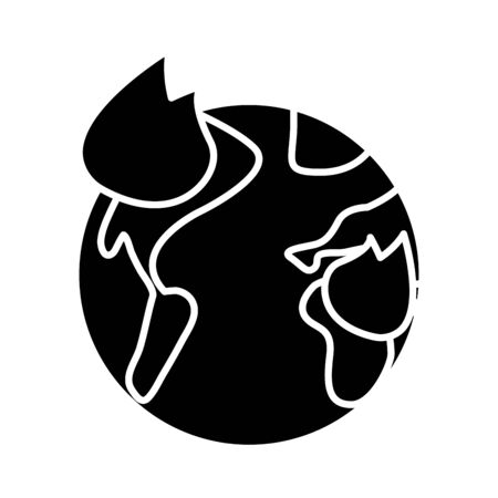world planet earth with fire flames flat style icon vector illustration design