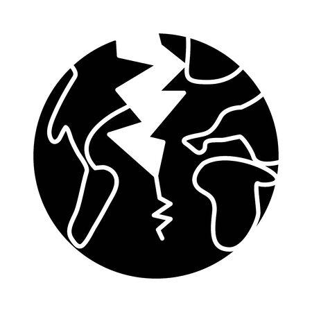world planet earth broken earthquake flat style icon vector illustration design