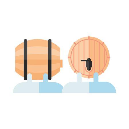 wine barrels drink isolated icons vector illustration design Ilustração