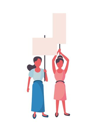 activists women with protest banners vector illustration design