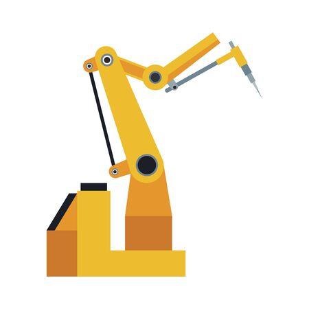 robotic arm machine icon over white background, colorful design, vector illustration Stock Illustratie