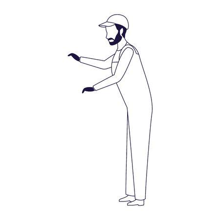 car mechanic standing icon over white background, flat design, vector illustration