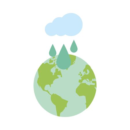 world planet earth with cloud rainy vector illustration design