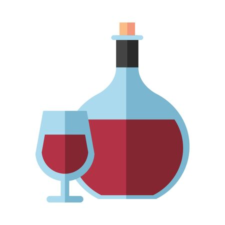 wine bottle drink with cup vector illustration design