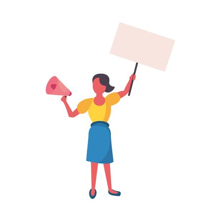 activist woman with protest banner and megaphone vector illustration design Ilustração