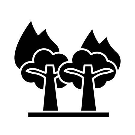 forest fire scene isolated flat style icon vector illustration design
