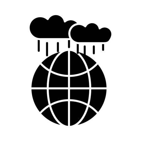 world planet earth with clouds rain flat style icon vector illustration design 일러스트
