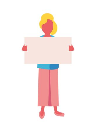 activist woman with protest banner vector illustration design