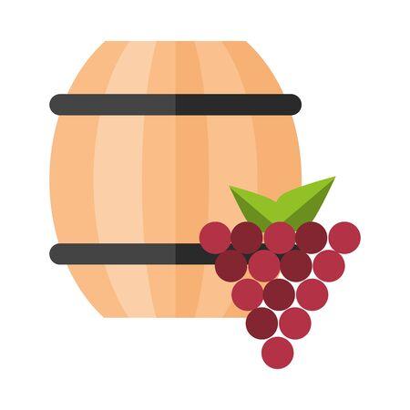 wine barrel drink with grapes vector illustration design