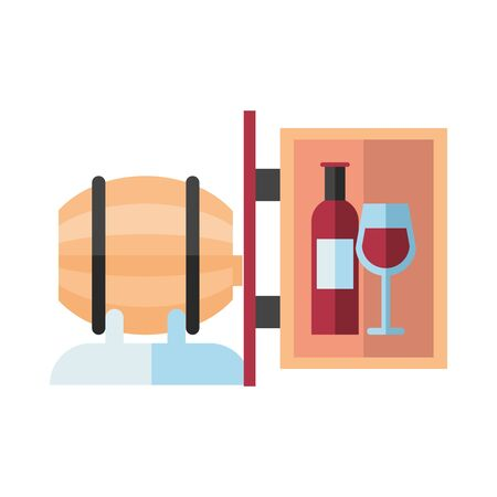 wine barrel drink with label hanging vector illustration design
