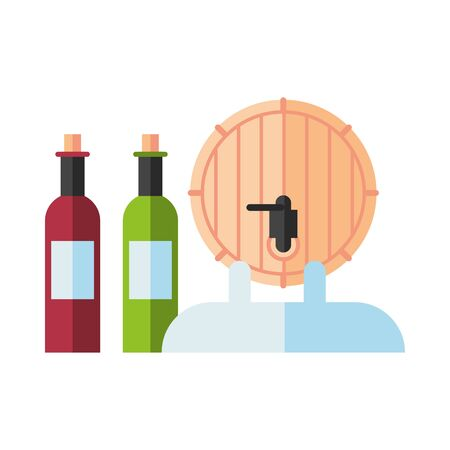 wine bottles drink with barrel vector illustration design