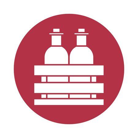 wine bottles drink in wooden basket vector illustration design